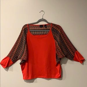 Westbound Red Knit Top Sz. L 3/4 Length Sleeve